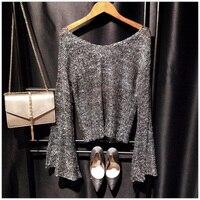 Cakucool Vàng Trong Suốt Lurex Knit Tops Phụ Nữ Đuốc Tay Lớn V-Cổ Sequined Áo Len Mỏng Bạc Chủ Đề Shiny Cô Gái Jumpers