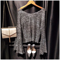 New Women v neck knitted Shirts Fashion Transparent Gold Silver Lurex Knit Pullovers Flare Sleeve Hollow Out Sequins Basic Tops