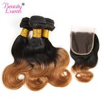 Ombre Body Wave 3 Bundles With Closure Blonde Brazilian Human Hair Weave Bundles With Closure Short Bob 1B/27 30 Remy Hair