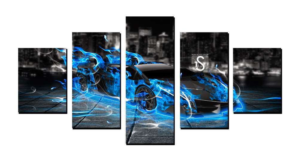 Great 5 141 Flame Sports Car ,5 Panel Great HD Canvas Print For Living  Room,WHOLESALE Wall Art Picture/Photo Painting Artwork In Painting U0026  Calligraphy From Home ...