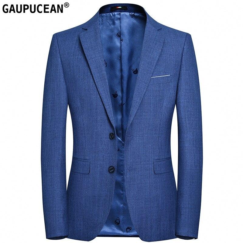 Slim Easy Care Anti-rétrécissement homme costume veste qualité mode mâle formel affaires deux boutons simple boutonnage bleu hommes Blazer