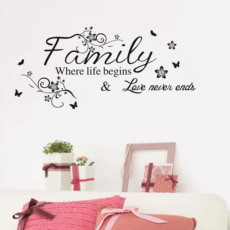 Love Family Words Wall Sticker Removable Where Life Begins Love Never Ends Quotes PVC Decals for Bedroom Living Room Decoration