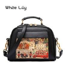 Новая модная женская повседневная сумка-тоут из искусственной кожи, Женская Ретро сумка, картина маслом, Женская винтажная сумка на плечо