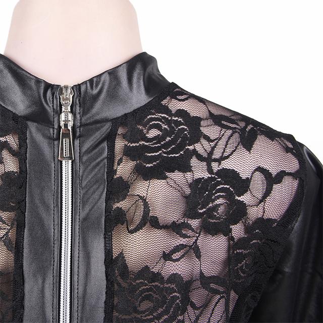 Black Faux Leather Bodysuit Women with Floral Lace