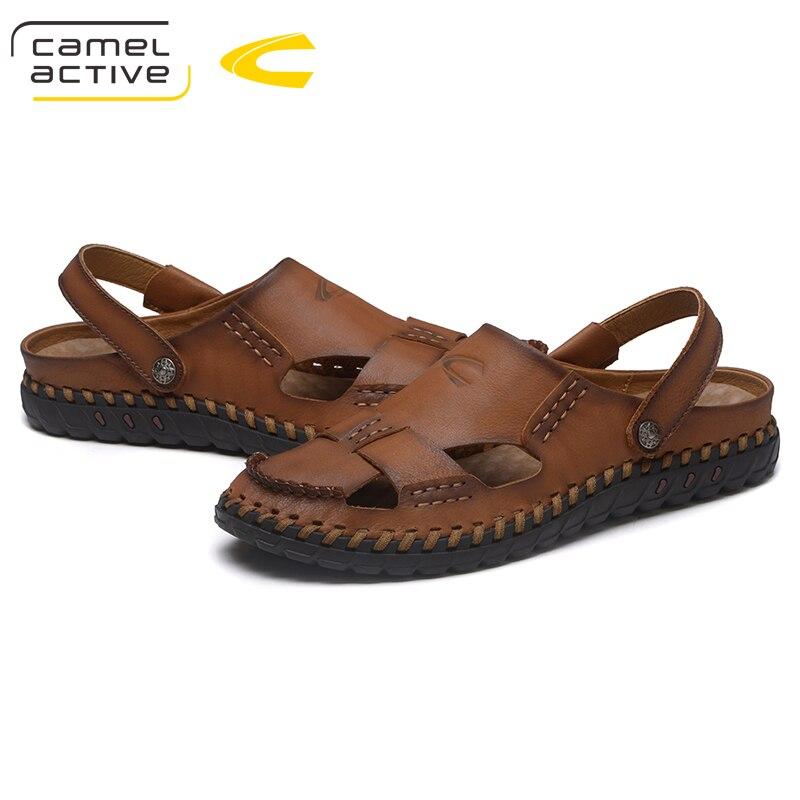 Camel Active/Новинка; брендовые летние сандалии из натуральной кожи; мужская повседневная обувь; кроссовки; мужская пляжная обувь на резиновой по