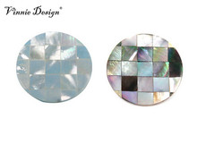 Vinnie Design Jewelry Fashion Gaudi Grey Mosaic Shell Coin for 35mm Frame Pendant 10pcs/lot