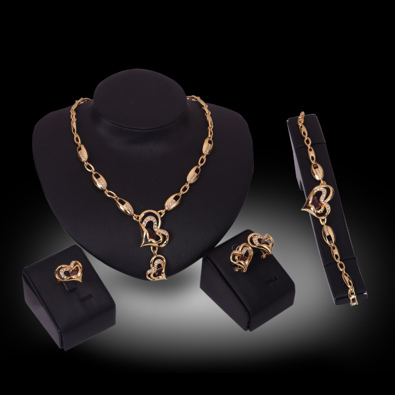 Women Jewelry Sets Luxury New Fancy Gold color Crystal Heart Pendants  Necklace Earrings Ring Bracelet Wedding Accessories 34ad5637beee