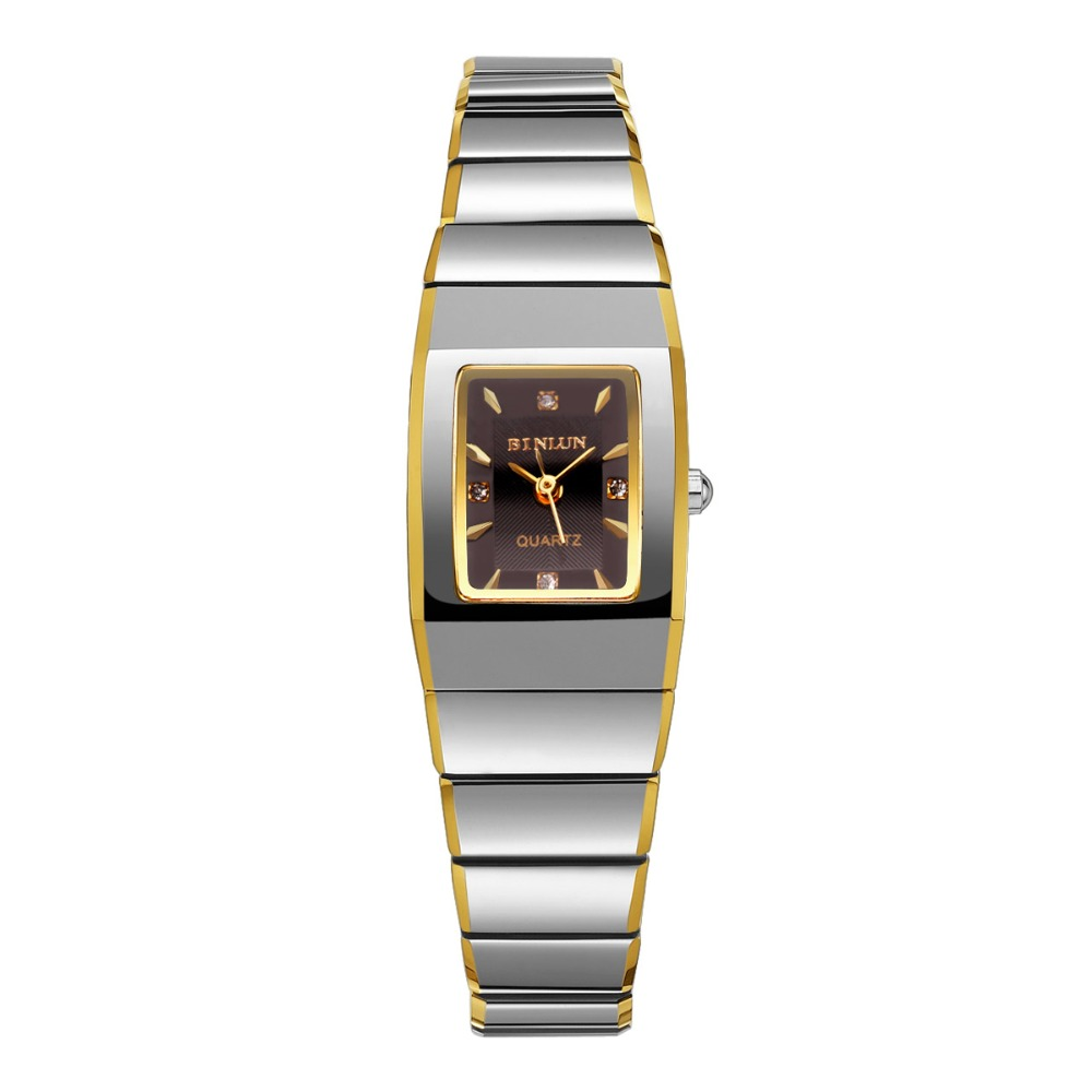 BINLUN Rectangle Tungsten Watch for Women Ladies Waterproof Quartz Watches with 18K Gold Plated Bracelet stylish golden hollow rounded rectangle hasp bracelet for women