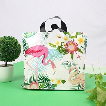 Plastic Merchandise Shopping Bags with Handles and Bottom Gusset. Unique, Durable and Thick Flamingo Plastic bag 50 Pcs