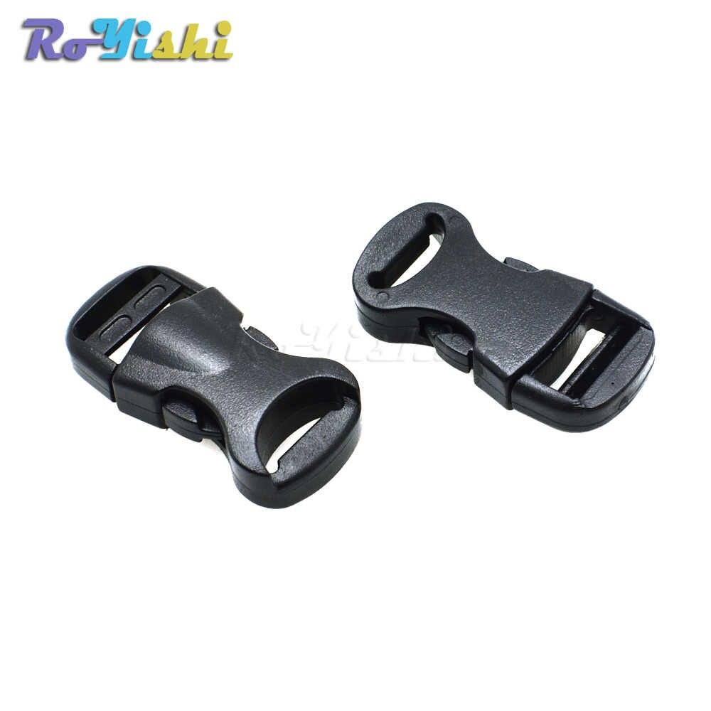 """1 sztuk 3/8 """"(10mm) profilowane boczne zwolnienie Mini klamry dla Paracord bransoletka/obroże dla kotów czarny"""