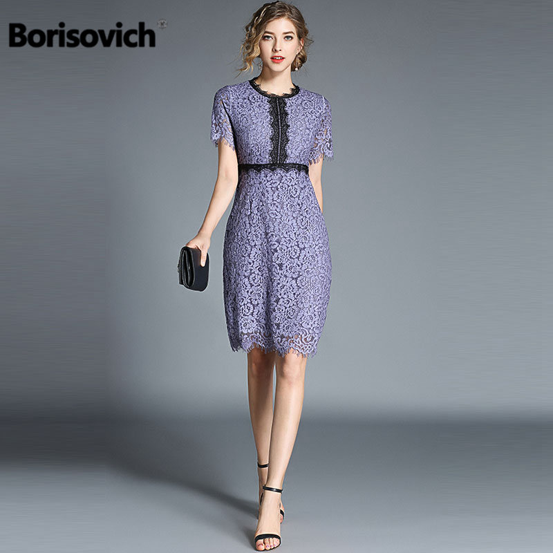 4e7915375e02 Borisovich Women Lace Casual Dress New 2018 Summer Fashion Knee-length  Elegant Slim Ladies Party