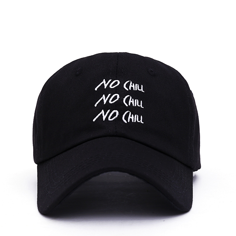 2019 New NO CHILL Letter Embroidery Cap  Adjustable Dad Hats Korean Version Of The Personality Baseball Caps Outdoor Sunshade Ha