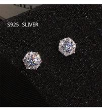S925 argento Sterling colore semplice rotondo Bling CZ zircone pietra orecchini gioielli di moda orecchini coreani per donna ragazza