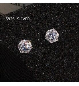 S925 Sterling Silver Color Simple Round Bling CZ Zircon Stone Stud Earrings Fashion Jewelry Korean Earrings for Women Girl
