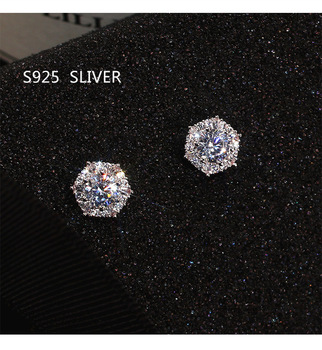 S925 Sterling Silver Color Simple Round Bling CZ Zircon Stone Stud Earrings Fashion Jewelry Korean for Women Girl - discount item  40% OFF Fashion Jewelry