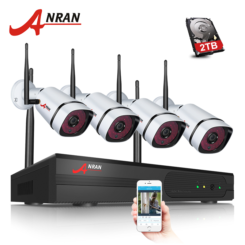 ANRAN Newest Plug& Play 4CH WIFI NVR CCTV System P2P 1080P 2.0MP HD Outdoor Security IP Camera Wireless VideoSurveillance System anran plug and play 4ch cctv system wifi nvr kit p2p 1080p hd ir ip camera wifi outdoor cctv camera security system 2tb hdd