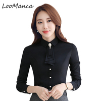Elegant Women Shirt 2017 New Long Sleeve Slim Blusa OL Brooch With Tie Slim Blouse