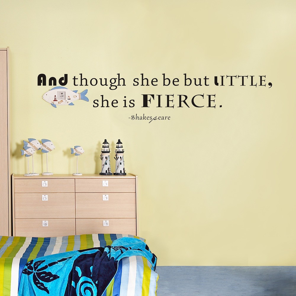 Art Wall Decals Vinyl Decal Quote And though she be but little she ...