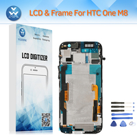 LCD Replacement For HTC One M8 LCD Display Touch Screen Digitizer Glass Frame Complete Assembly Gold