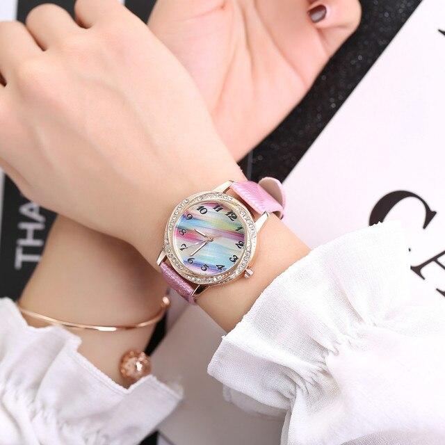 Simple Rainbow Gold Watch Women Watches Ladies Leather Women's Bracelet Watches