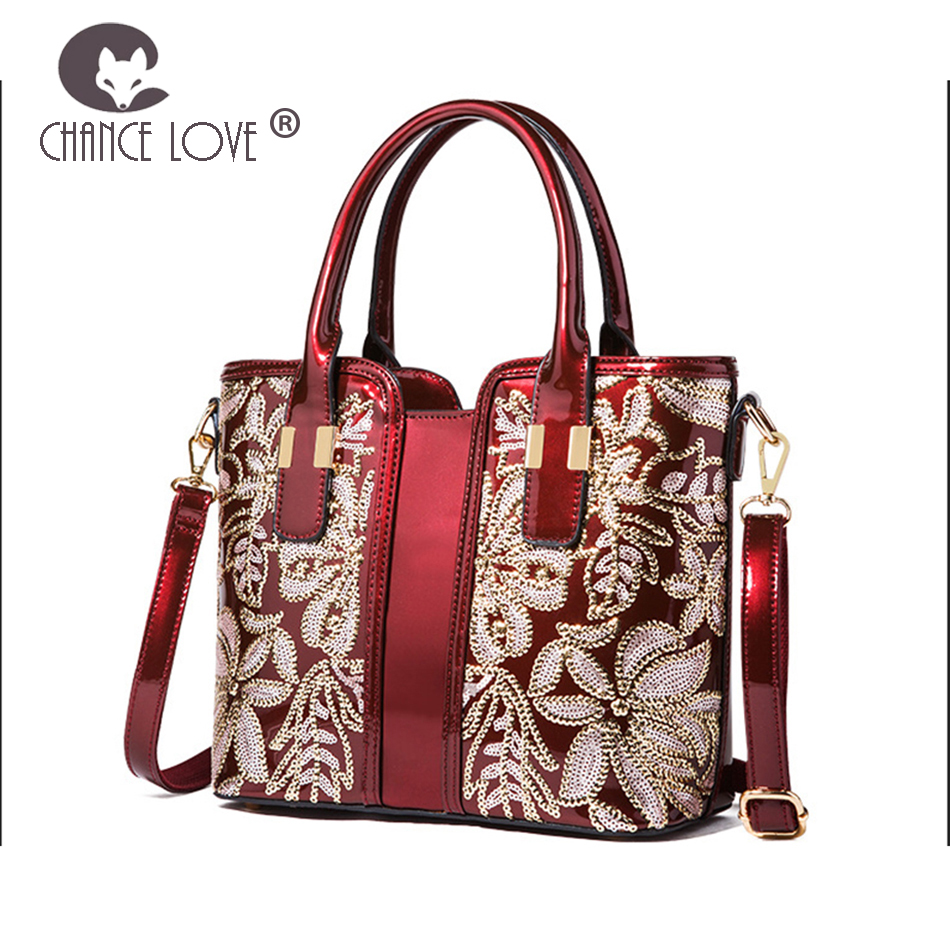 Chance Love 2018 new women s patent leather bag fashion sequins handmade  Flower blue red black gold 115c885b76