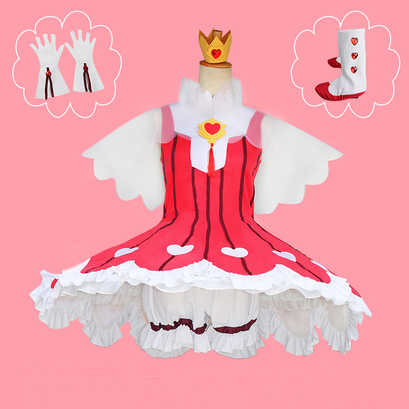 Cardcaptor Sakura: Clear Card Kinomoto Sakura OP2 Rose Heart Battle Dress Uniform Japanese Anime Halloween Cosplay Costume