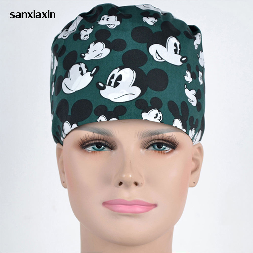 Unisex Pharmacy Scrub Cap Nurse Doctor Surgical Hospital Adjustable Medical Surgery Caps Scrub Lab Clinic Dental Operation Hat 8