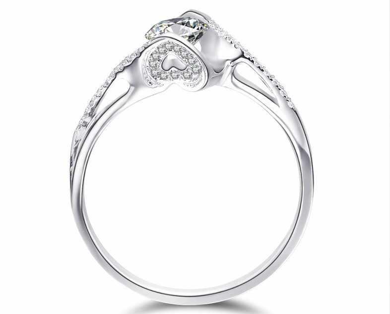 Schöne Engel der kuss 0,6 CT Feine Diamant Engagement ringe für frauen 925 silber Ladys finger schmuck mit gold Abdeckung