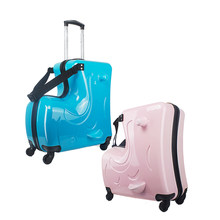 LeTrend Cute Cartoon Children Rolling Luggage Spinner Suitcase Wheels Student Multifunction Trojan horse Trolley Kids Travel Bag(China)