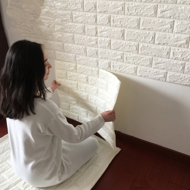 1Pcs 70x92cm PVC Creative TV Setting Wall Brick Grain Wallpaper Since The Sticky 3D Stickers