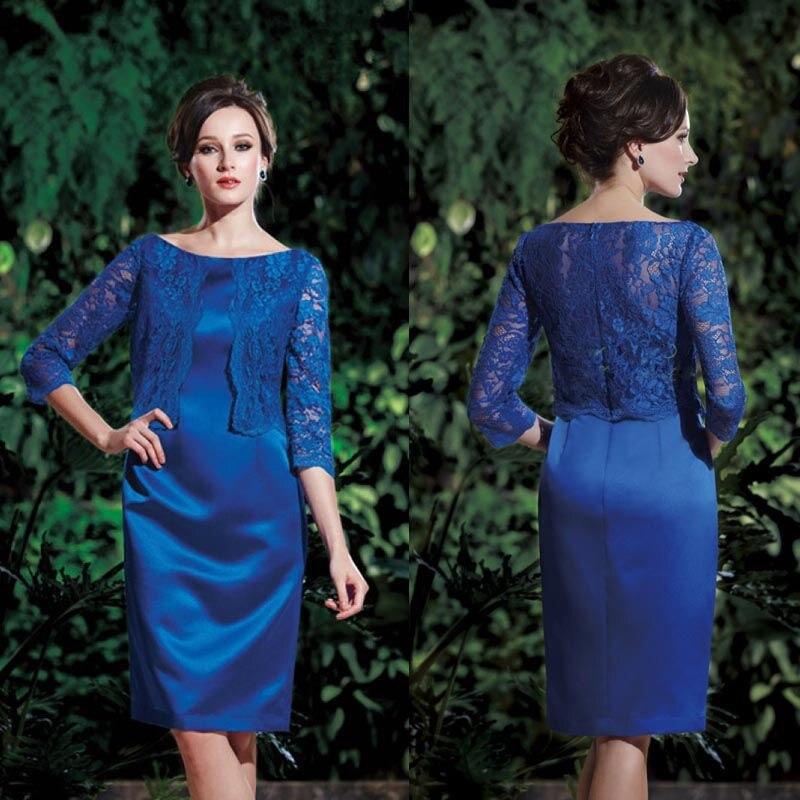 Royal Blue Dress Mother Bride Knee Lengths Three Quarter