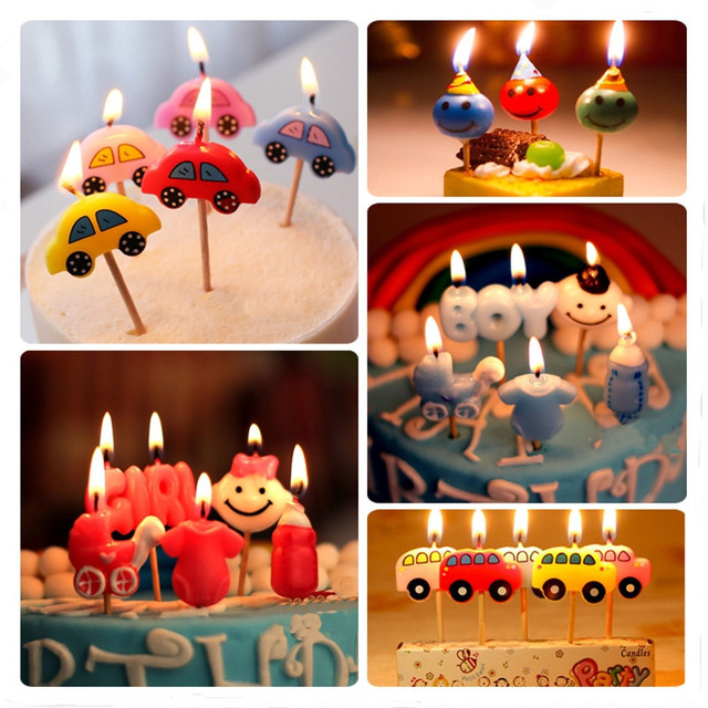 Wholesale 5 Patterns Cake Candles Birthday Party Decoration For Kids Mini DIY Tools Smokeless Topper