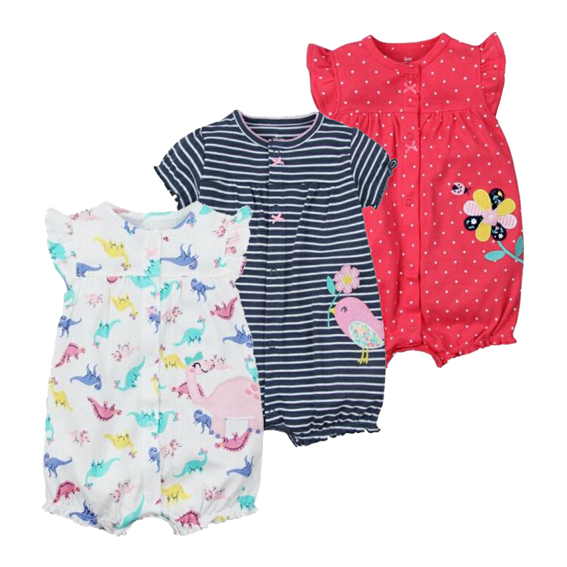 NewBorn Baby Girls Clothes Infant Cartoon Costumes Baby Boy Rompers Summer 2018 Short Sleeve Jumpsuit 100% Cotton Pajamas