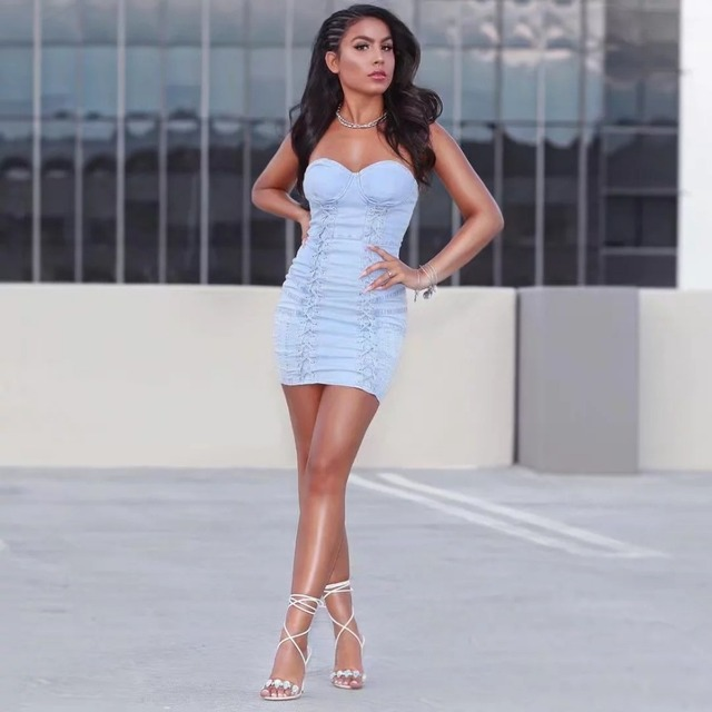 Sexy Strapless Lace Up Hot Jean Dress Women Party Bodycon -3785