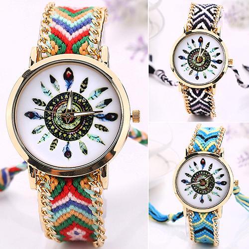 Luxury Brand Women's Analog Quartz Golden Chain Knitted Braided Bracelet Ethnic Wrist Watch Wristwatch 75J9 stylish bracelet band women s quartz analog wrist watch coffee golden 1 x 377