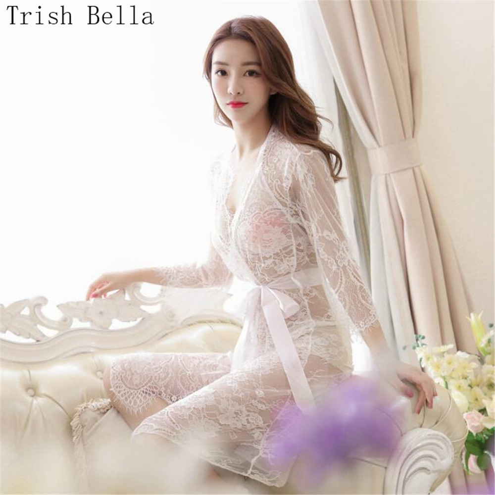 transparent Cardigan binding Lengthen Backless Pajamas sexy lingerie plus size erotic sexy underwear lenceria langerie babydoll in Babydolls Chemises from Novelty Special Use
