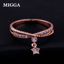 MIGGA Delicate Small Star Pendant Cubic Zircon Ring Rose Gold Color Fashion Women Girls Gift Crystal Bague(China)