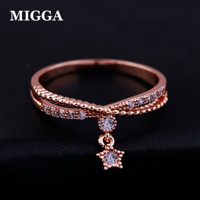 MIGGA Delicate Small Star Pendant Cubic Zircon Ring Rose Gold Color Fashion Wome