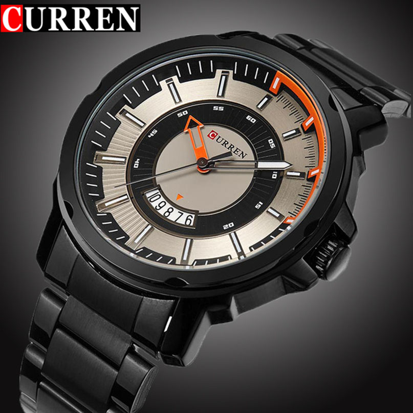 Curren Sport Quartz Watch Fashion Casual Mens Watches Top Brand Luxury Military Wrist Watch Men Army Black Steel Band Clock Man megir watch luxury quartz men wristwatch stainless steel strap band hour time clock casual male man sport army military watches