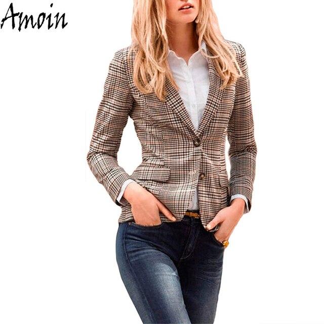 Amoin Women Plaid Blazer New Spring Autumn Fashion Plaid ...
