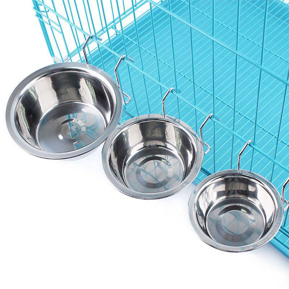 LumiParty Stainless Steel Hang-on Bowl for Pet Dog Cat Crate Cage Food Water -30