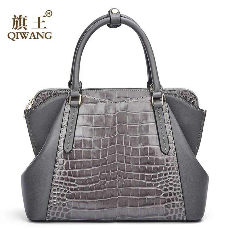 Qiwang حقيبة يد للنساء 100% حقيقية جلد البقر سيدة اليد حقيبة 2019 أنيق رمادية الإناث حقائب كتف الأعلى مقبض حمل-في حقائب الكتف من حقائب وأمتعة على  مجموعة 1
