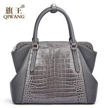 08e6b07a9 Qiwang gris bolsas bolso mujer famoso 100% cuero de vaca de cuero genuino  bolso de mano gris, bolso de las mujeres de moda bolso.