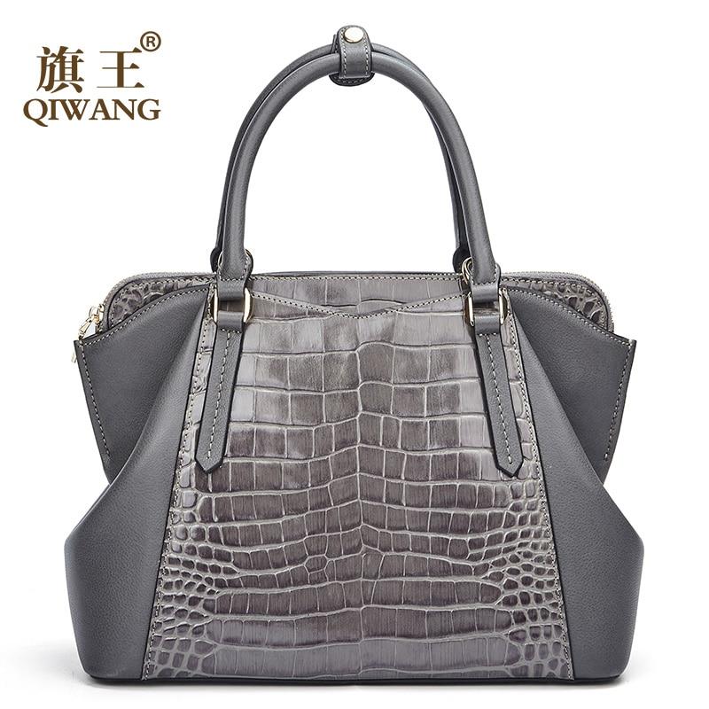 Qiwang torebka dla kobiet 100% oryginalna krowy skóra damy torebka 2019 stylowy szary torebki kobiet torby na ramię Top uchwyt torby dużego ciężaru w Torebki na ramię od Bagaże i torby na  Grupa 1