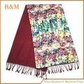 Цветочный Цветок Женщин Мода Атласная Маслом Лонг Шали Обруча Пляж Шелковый Шарф 50*190 см
