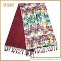 Floral Flower Women Fashion Satin Oil Painting Long Wrap Shawl Beach Silk Scarf 50*190cm