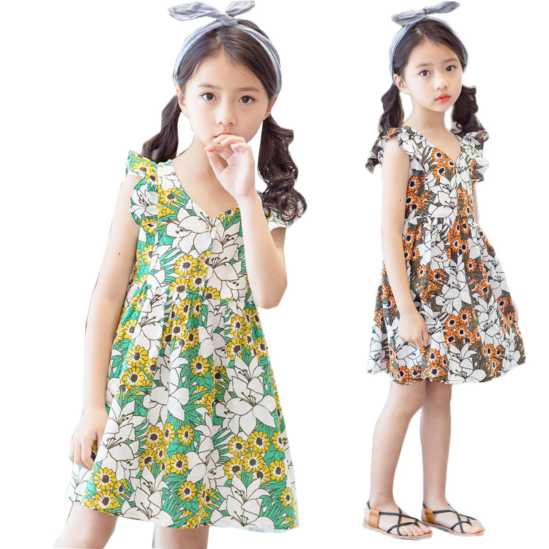 3 4 5 6 7 8 9 10 11 12 Year Girls Dress Summer Flower 2018 New Children Princess Clothing Casual O-neck Kids Party Clothes girls lace dress princess toddler clothes baby girl new year costume sweet summer 2017 kids flower children clothing 3 4 6 8 11y