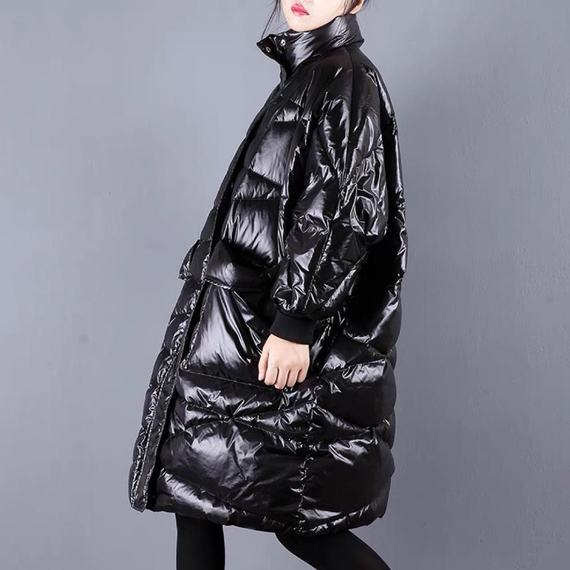 Winter New Fashion Brand Loose Style Warm White Duck Down Jacket Female Glossy Warm Thick Parka Winter Coat Women Plus Size