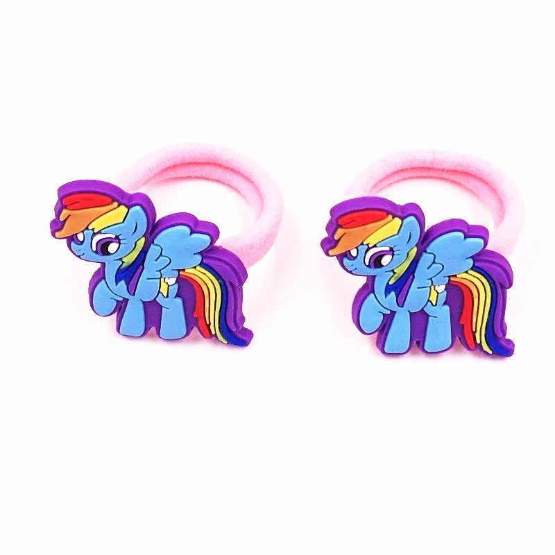 2 пары заколки для волос My little Baoli Poni Rainbow tail Horse, заколки для волос, Эластичные аксессуары для волос, волосы резинки, десны