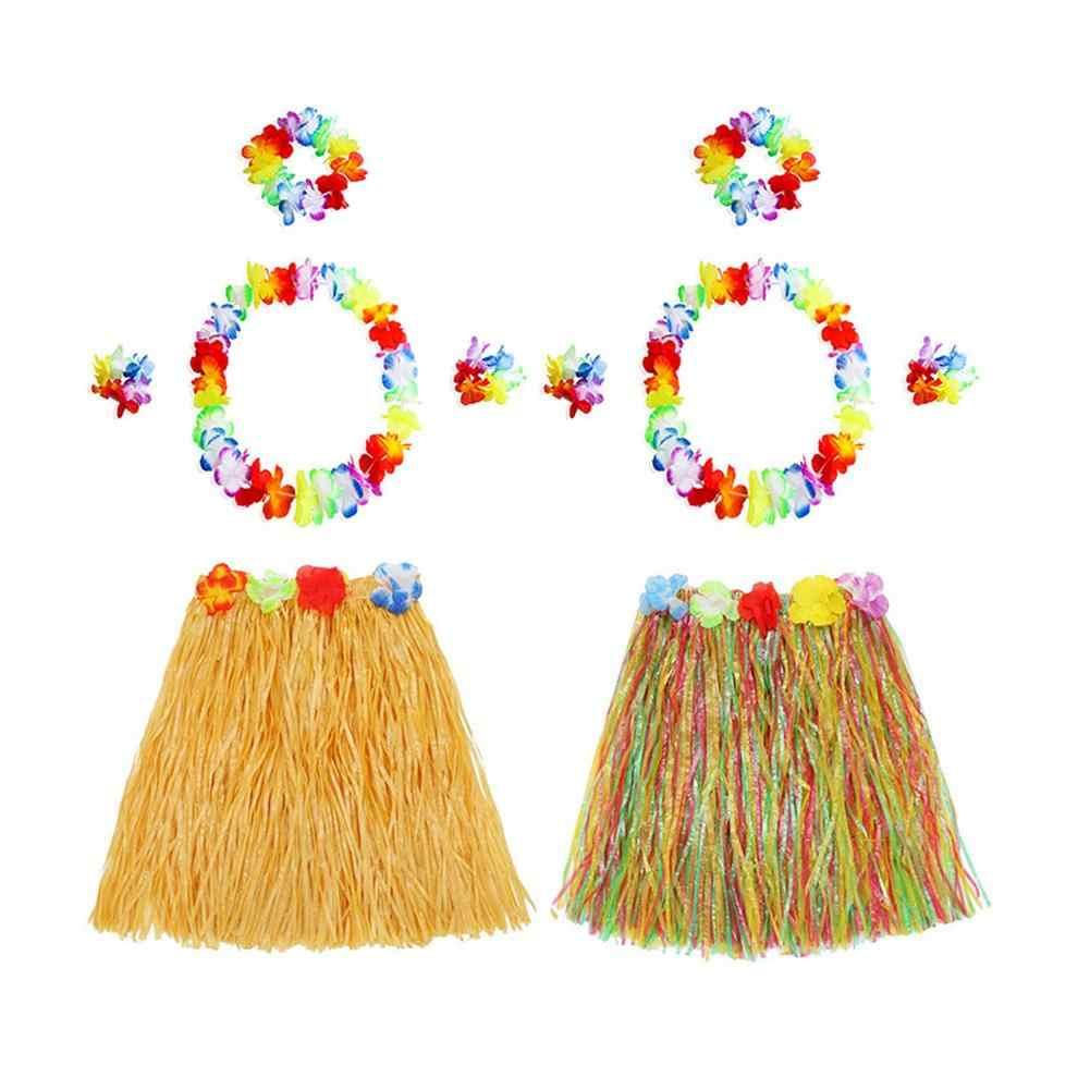 הוואי סגנון חליפת פרח חצאית זר הולה חצאית ריקוד מסיבת תלבושות סט אישה להתלבש הוואי ספקי צד